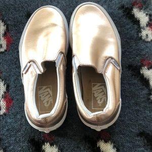 93d5481138 Vans Shoes - Rose gold Vans classic slip ons metallic